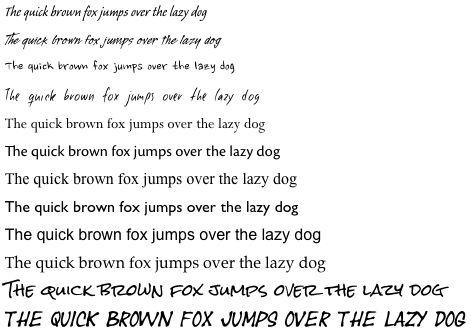 a dozen font samples